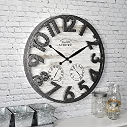FirsTime & Co. 31038 Shiplap Outdoor Wall Clock, 18, Light Gray