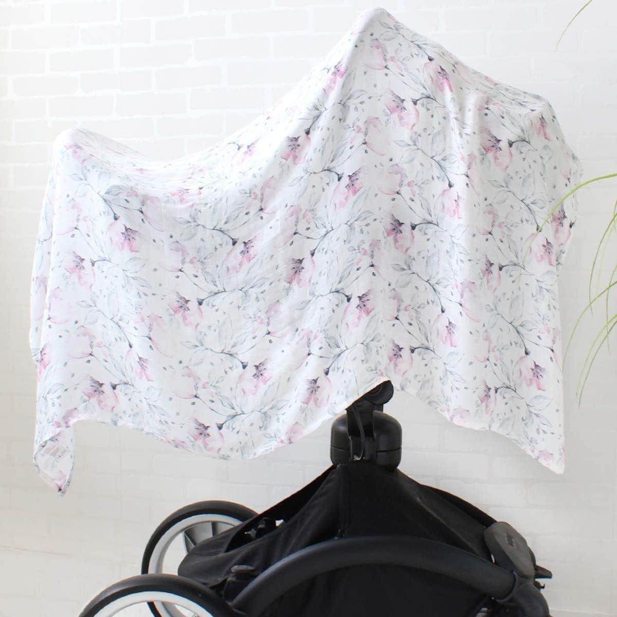 Baby Mousseline Swaddle Lingettes demmaillotage XL Taille 120 x 120 cm Couverture b/éb/é en coton de bambou Flowers Langes