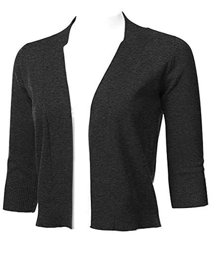 10dc3ecd09 GUVU Women s Basic Classic 3 4 Sleeve Open Front Cropped Cardigan (Medium