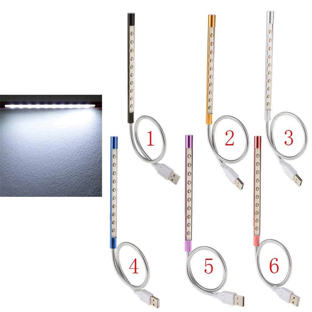 Blu MagiDeal Flessibile 10-LED Lampadina USB Lettura Tastiera Laptop Luce Lampada da Notte