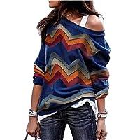 Landove Sudadera Sin Hombro Mujer Bohemia Camisa Top Jersey Geometrico