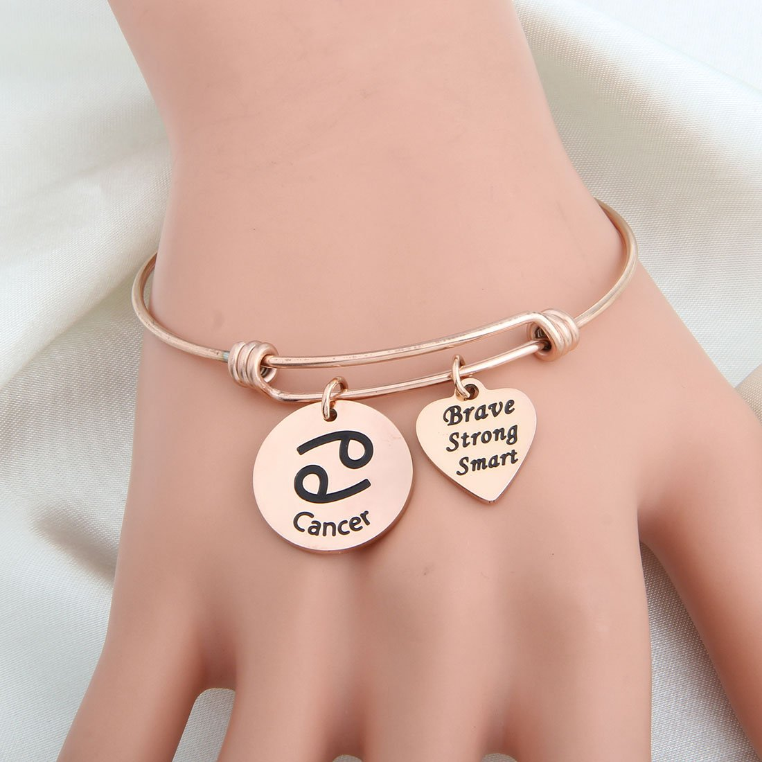 bobauna Rose Gold 12 Zodiac Signs Stainless Steel Expandable Wire Bangle Bracelet Birthday Gift for Her