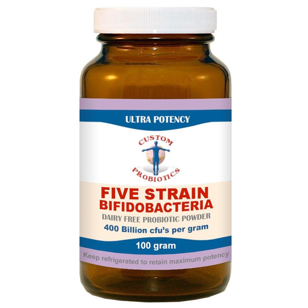 Five Strain Bifidobacteria Probiotic Powder by Custom Probiotics (100 Gram)
