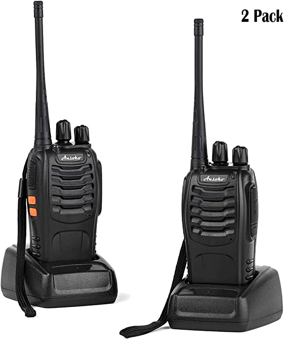 Ansoko Rechargable Walkie Talkies Long Range Portable Two Way Radios 16-Channel FRS/GMRS Walkie Talkie (Pack of 2)