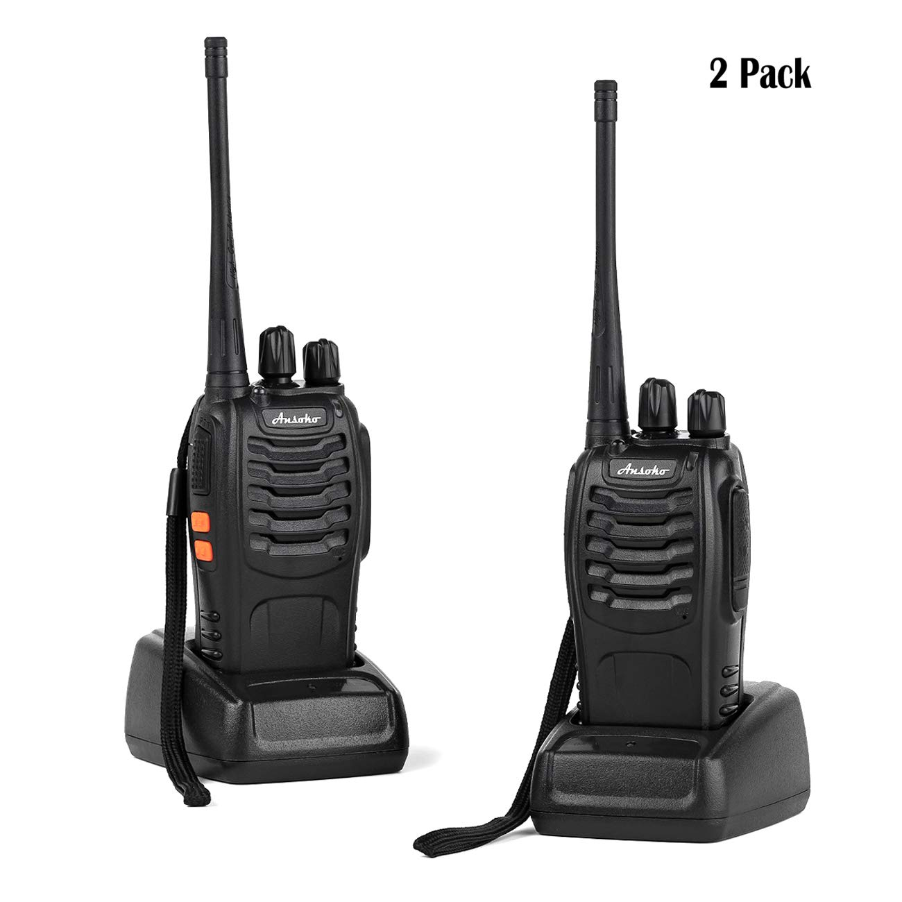Ansoko Rechargable Walkie Talkies Long Range Portable Two Way Radios 16-Channel FRS/GMRS Walkie Talkie (Pack of 2) by Ansoko