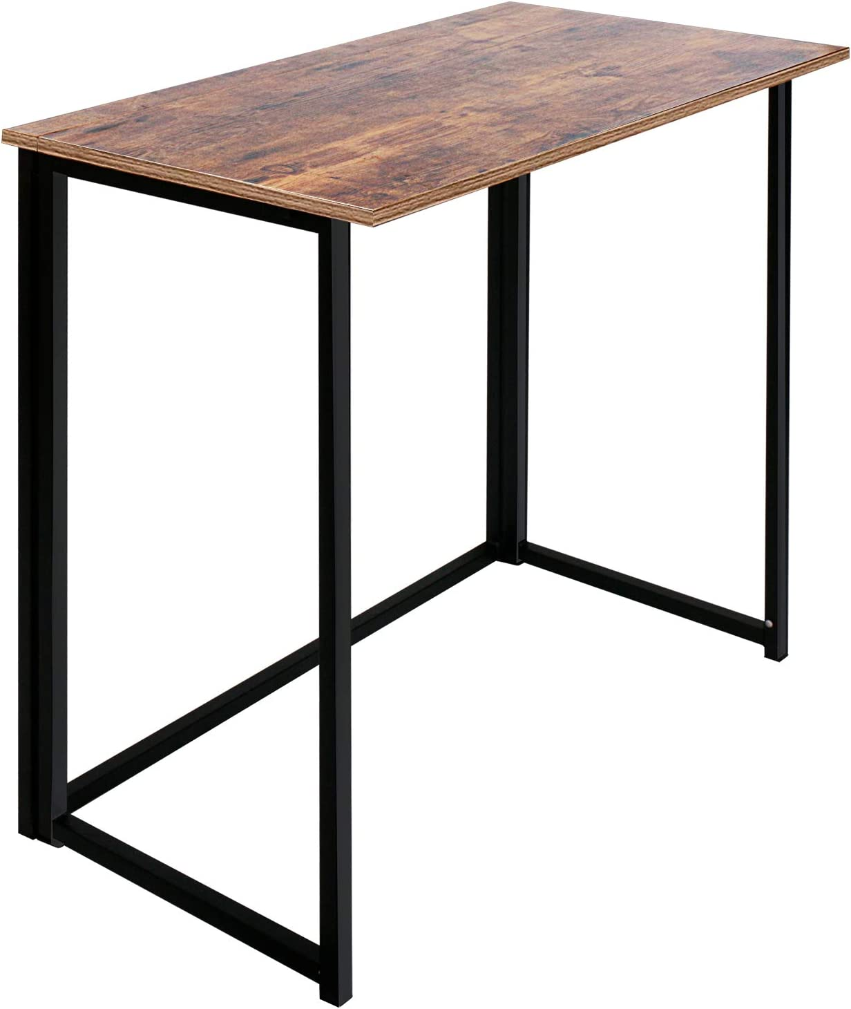 Folding Computer Desk for Small Spaces, Simple Space-Saving Home Office Desk, Foldable Computer Table, Laptop Table, Writing Desk, Compact Study Reading Table (Rustic Brown)