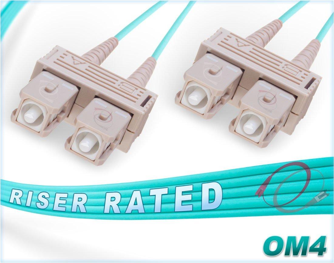 0.5M OM4 SC SC Fiber Patch Cable   100Gb Duplex 50/125 SC to SC Multimode Jumper 0.5 Meter (1.64ft)   Length Options: 0.5M-300M   FiberCablesDirect   10g 40g sc-sc mmf sc/sc patch-cords dup lszh ofnr
