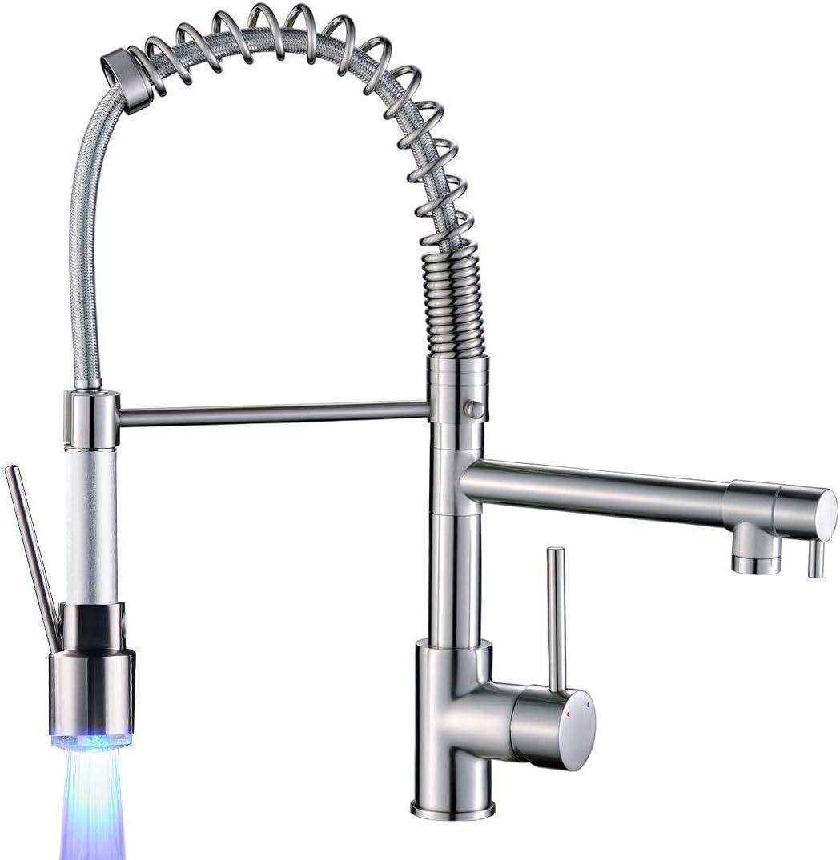 LED Kitchen Faucet Pull Down Sprayer Swivel Spout Single Handle Sink Mixer Tap