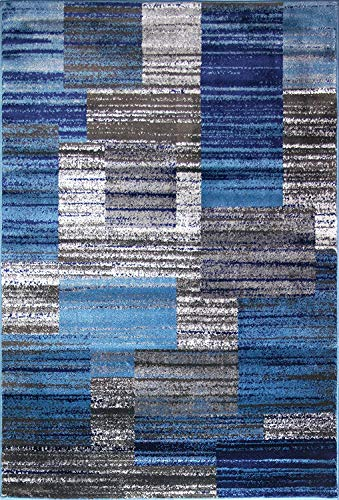 ADGO Atlantic Collection Modern Contemporary Abstract Geometric Circles Squares Swirls Area Rug (3' x 5', 6315AB - Blue Navy Grey)