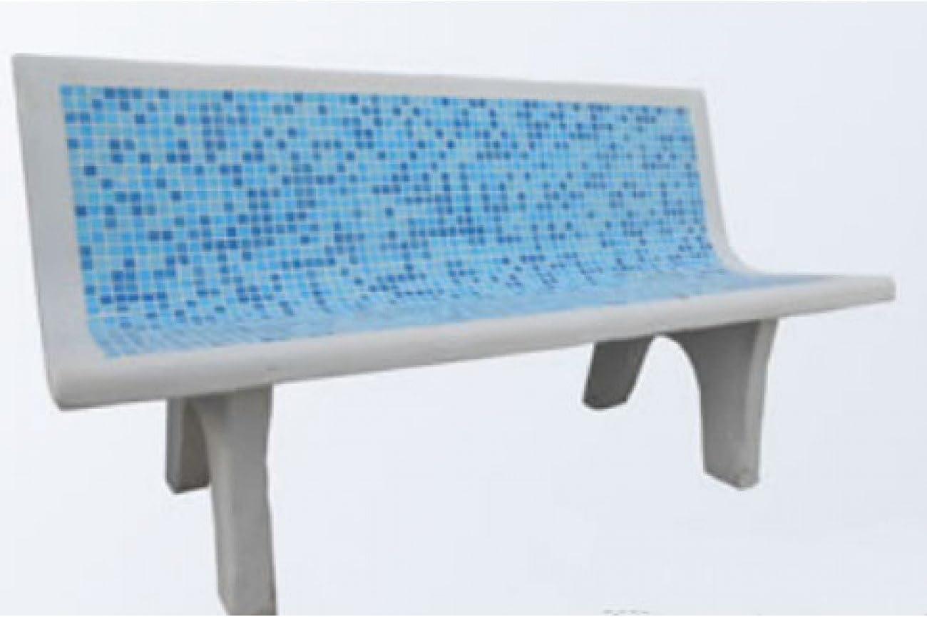 Panchina Per Esterni Effetto Mosaico Azzurra In Cemento Resinato