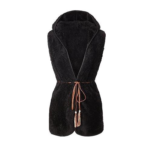 FEITONG De las mujeres Elegante Más cálido Casual espeso con capucha Largo Chaleco Capa
