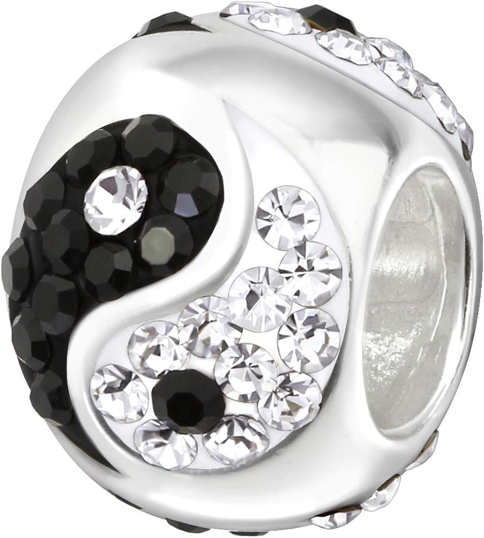 Melchior Jewellery Breloque Yin Yang en argent sterling 925 pour bracelet europ/éen