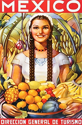 (Young Girl with Fruits. Mexico. Vintage Poster Reproduction(16.9