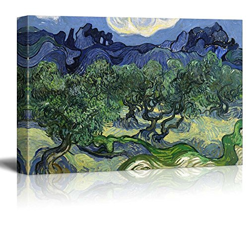 Olive Trees with The Alpilles in The Background by Vincent Van Gogh Print Famous Painting Reproduction