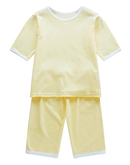 FEOYA Pijamas de Dos Piezas para Niños Camisetas Manga Corta Cuello Redondo Traje en Casa Algodón Suave Transpirable Rosa/Amarillo/Café/Blanco/Azul: ...