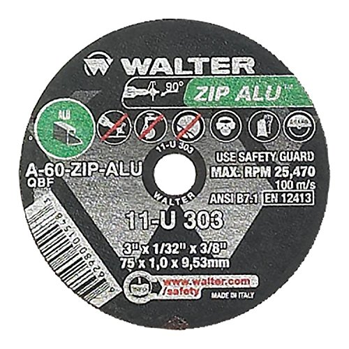 Walter ZIP Alu Fast and Free Cutoff Wheel, Type 1, Round Hole, Aluminum Oxide, 3' Diameter, 1/32' Thick, 3/8' Arbor, Grit A-60-ZIP-ALU (Pack of 25) 3 Diameter 1/32 Thick 3/8 Arbor Walter Surface Technologies 11U303