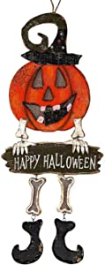 """Transpac Halloween Decoration Wall Front Door Wreath Hanging Wood Metal Decor Indoor Outdoor 24"""" x 10.5"""" (Pumpkin Boo)"""