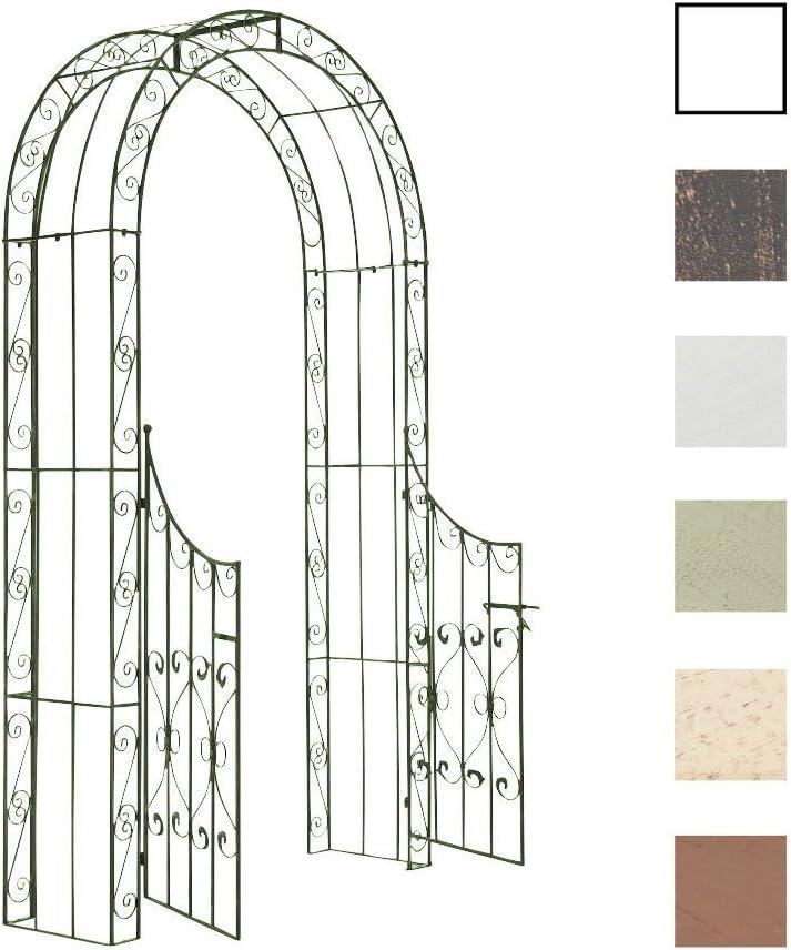 CLP Arche de Jardin avec Portillon Sina Couleur : Bronze Arceau de Jardin Romantique en Fer Forg/é Support pour Plantes Grimpantes avec Porte Style Shabby-Chic