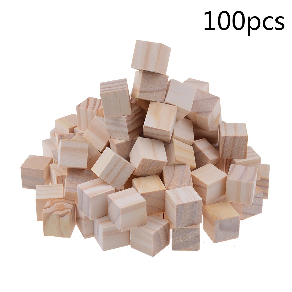 100 Pcs 1cm Wooden Cubes Natural Unfinished Craft Wood Blocks Wood Square Blocks For Math, Puzzle Making, Crafts and DIY Projects (1*1*1 cm) DREAS