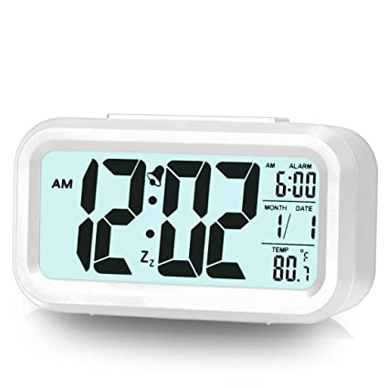 Delicieux Alarm Clock For Bedroom Digital Clock Smart Backlight With Dimmer (White)