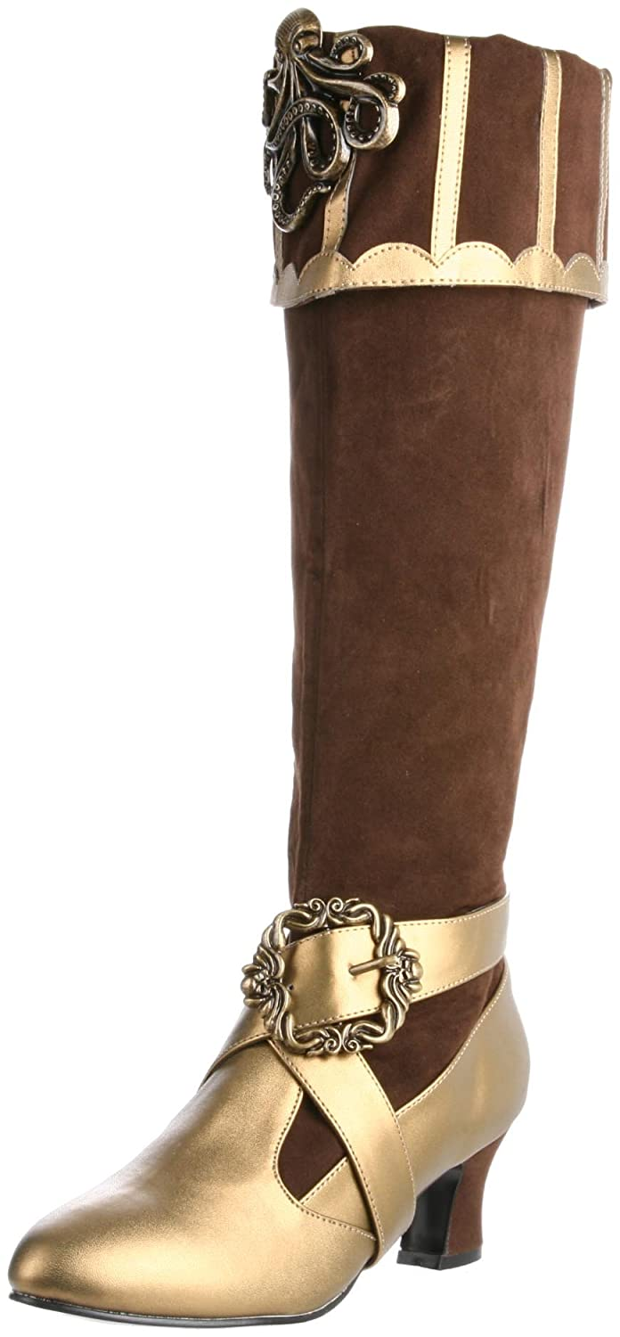 Women's Brown & Bronze Cthulhu Fold-Over Cuff Knee-High Velvet Pirate Boot - DeluxeAdultCostumes.com