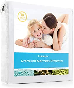 LINENSPA Premium Smooth Fabric Mattress Protector-100% Waterproof-Hypoallergenic-Vinyl Free Protector, California King, White
