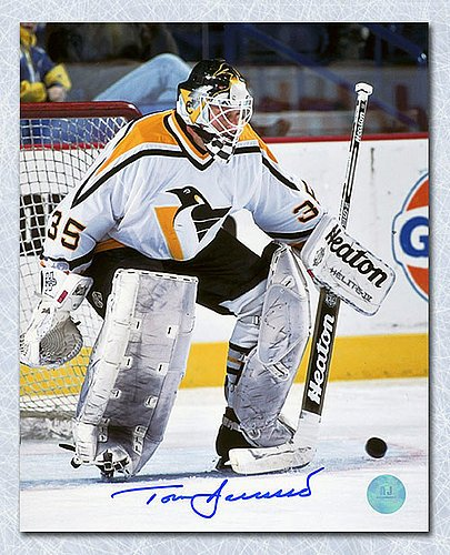 Tom Barrasso Pittsburgh Penguins Signed Stick Save 8x10 Photo - Autographed Hockey Photos (Autographed Hockey Stick Merchandise)