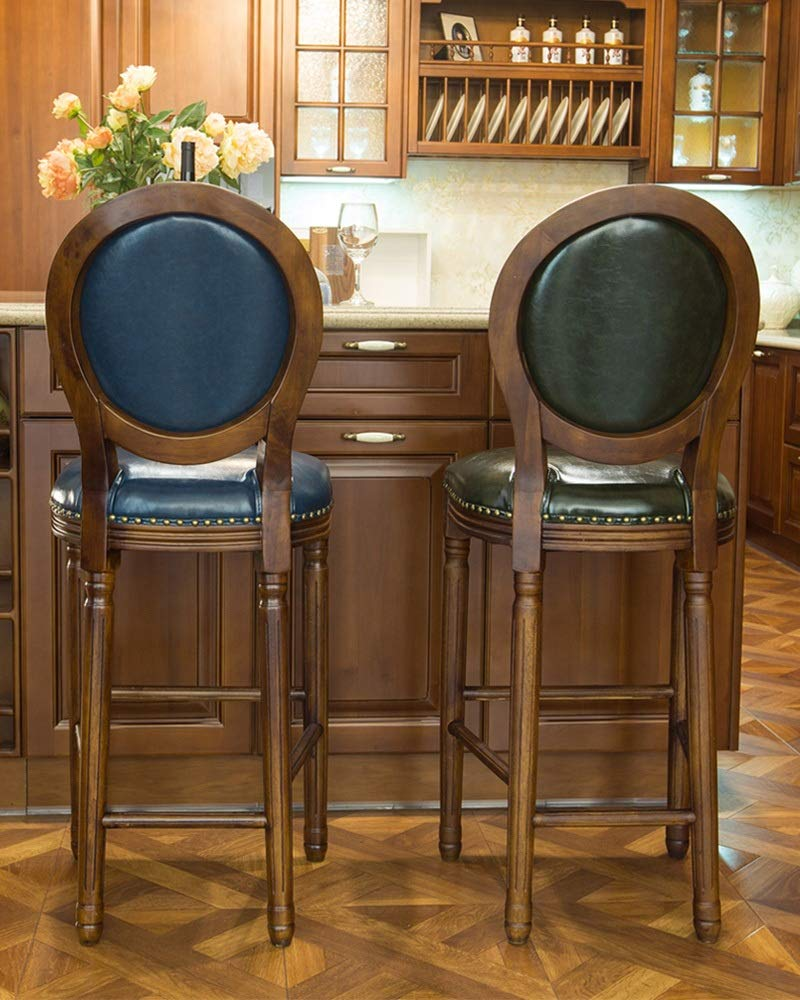 Amazon.com: Barstools ZR- Kitchen Breakfast, Bar Stool with PU Leather Padded Seat (Color : Dark Green): Kitchen & Dining