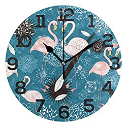 Dozili The Valentine's Day Flamingo Round Wall Clock Arabic Numerals Design Non Ticking Wall Clock Large for Bedrooms,Living Room,Bathroom
