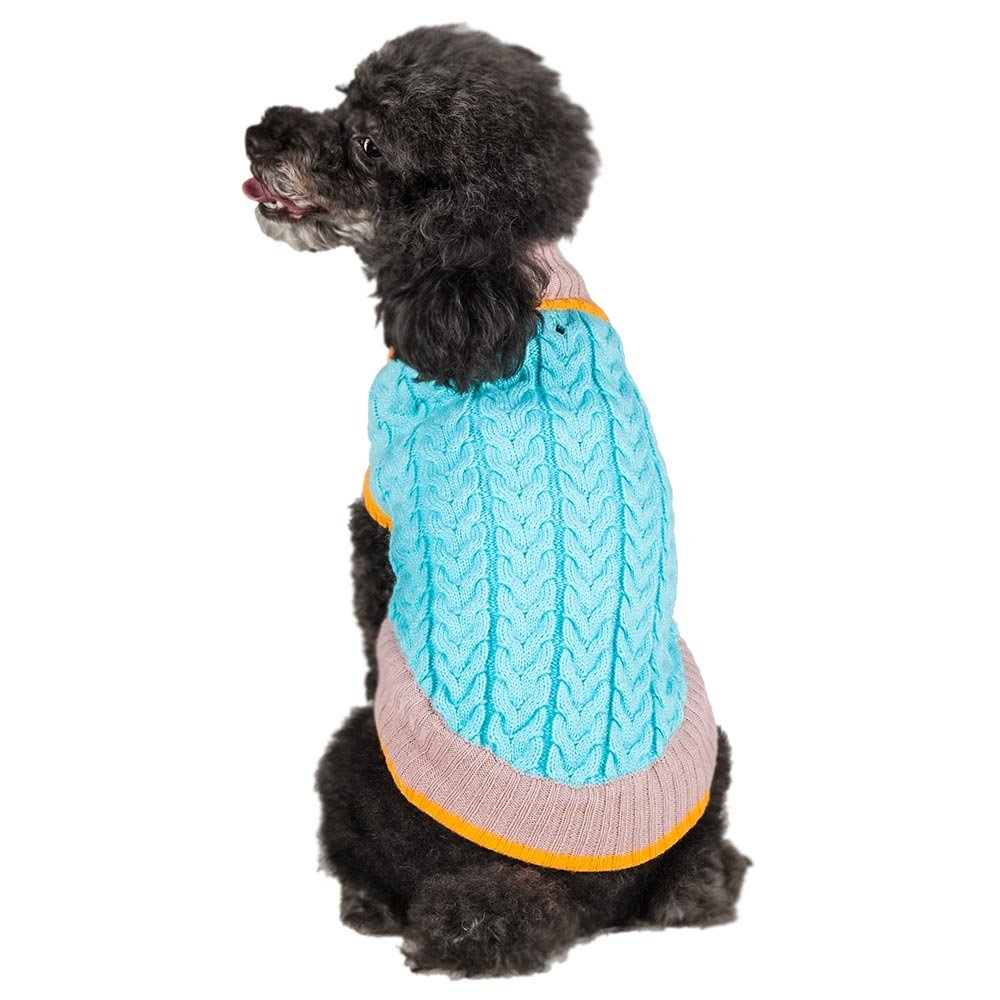 Blueberry Pet the Timeless Classic Cable Knit Turtle Neck Baby Blue Dog Sweater, Back Length 12'', Pack of 1 Clothes for Dogs