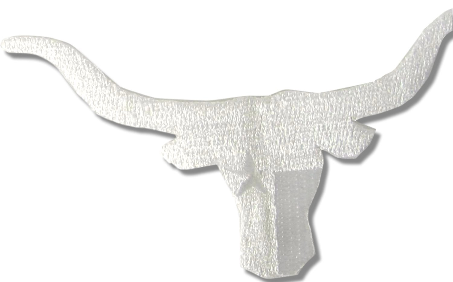 [Single Count] Custom and Unique (4 3/4'' by 2 1/2'' Inches) Small Texas Lone Star Longhorns Bull Iron On Embroidered Applique Patch {White} by mySimple Products