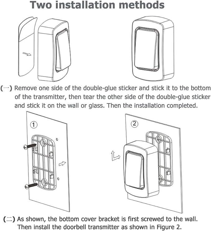3 Niveaux De Volume 38 Sonneries Portee Allant Jusqua 200m Sonnette Autoalimentee Sans Fil Vivis Aucune Batterie Requise Facile A Installer Blanc Bricolage Securite