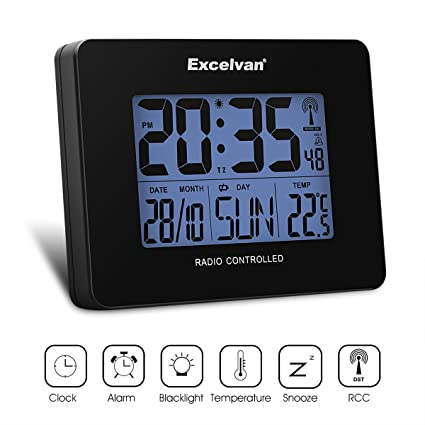 Excelvan - Radio reloj digital radio despertador radio control de alarma reloj mesa Reloj termómetro higrómetro indicador de temperatura humedad Tiempo ...