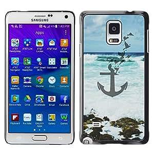 rígido protector delgado Shell Prima Delgada Casa Carcasa Funda Case Bandera Cover Armor para Samsung Galaxy Note 4 SM-N910F SM-N910K SM-N910C SM-N910W8 SM-N910U SM-N910 /Blue Sea Waves Art Beach/ STRONG