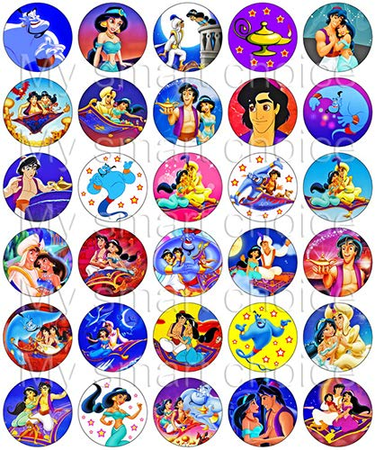 30 x Edible Cupcake Toppers – Aladdin Party Collection of Edible Cake Decorations | Uncut Edible Prints on Wafer -