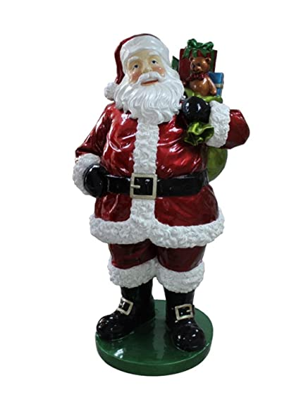 63 commercial grade standing santa claus with presents fiberglass christmas decoration - Commercial Grade Outdoor Christmas Decorations