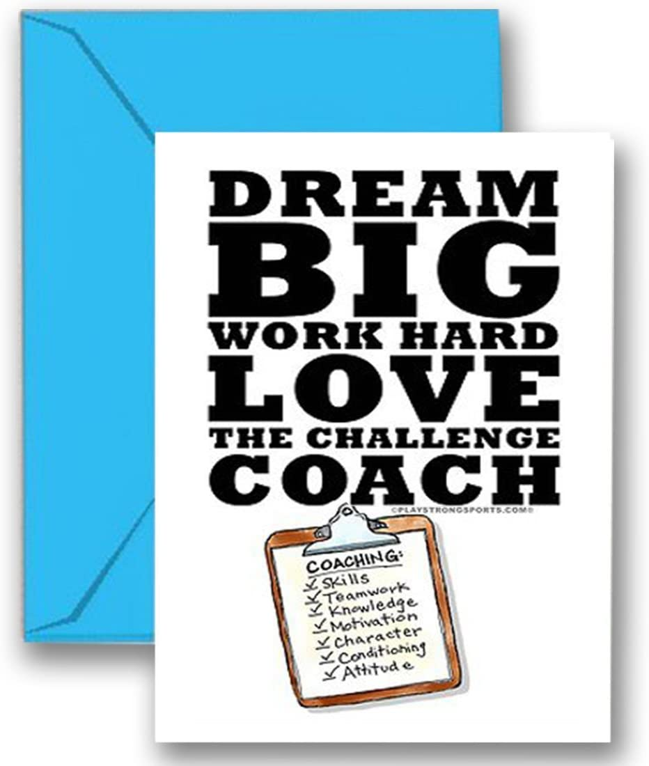 """THANKS COACH! """"Dream Big"""" 3-PACK SPORTS POWERCARD Greeting Cards (5x7) Perfect for youth sports to express """"Thank You!"""" - COACH will love it! #AllProfitsToHelpKids"""