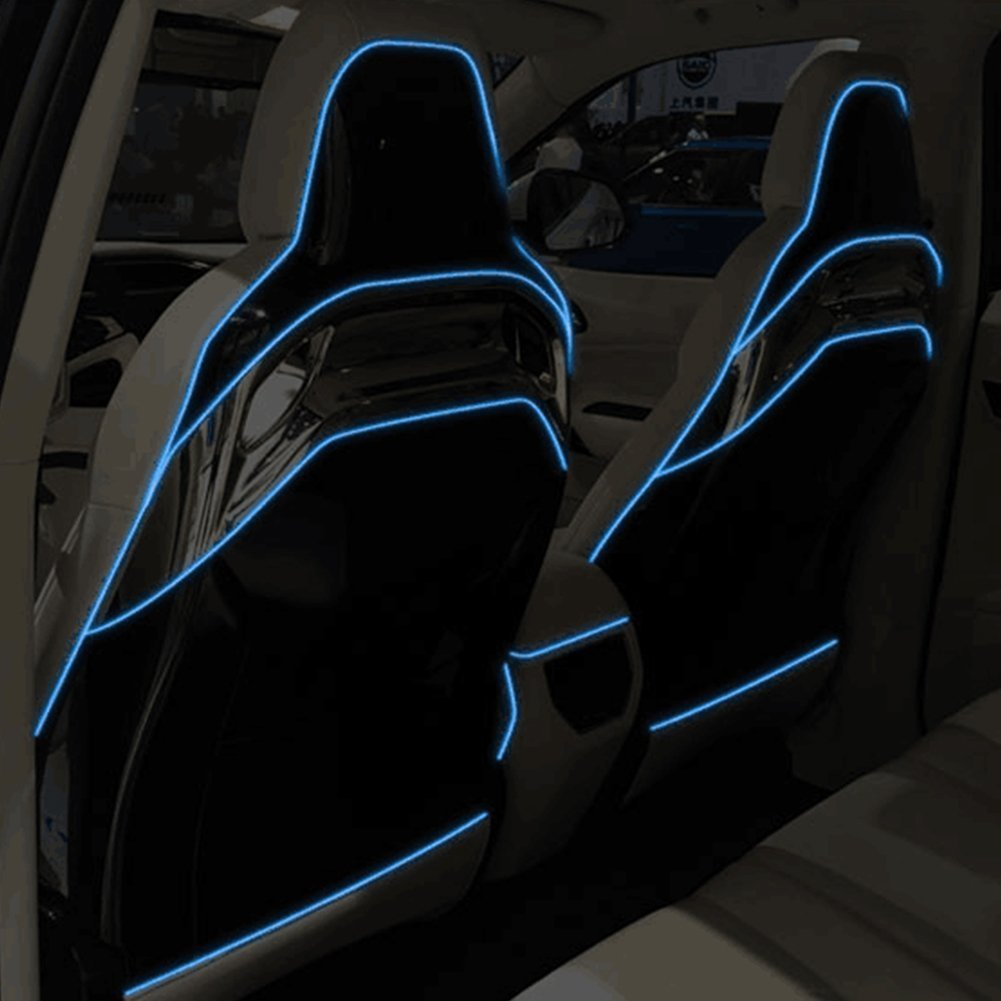 Car Interior Light Strip 2M White 12V Neon Atmosphere Glowing Strobing Electroluminescent Light Glowing EL Wire Cable for Car Door//Console//Seat//Dash Board Decoration