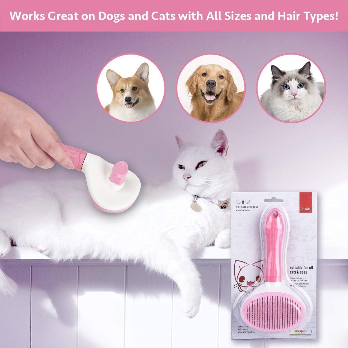 Toelettatura Pennello per Cani e Gatti con Pelo Lungo o Corto MELLIEX Spazzola per Cani Gatti Autopulente Spazzola Toelettatura per Animali Domestici