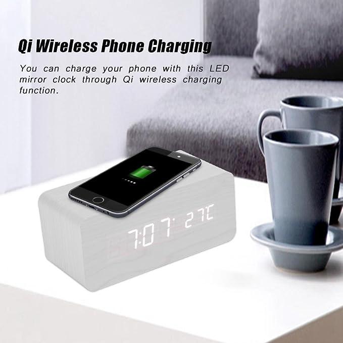 Amazon.com: Aramox Qi Wireless Charging LED Mirror Clock 75% Charging Efficiency Sound Control Digital Table Clock(White): Electronics