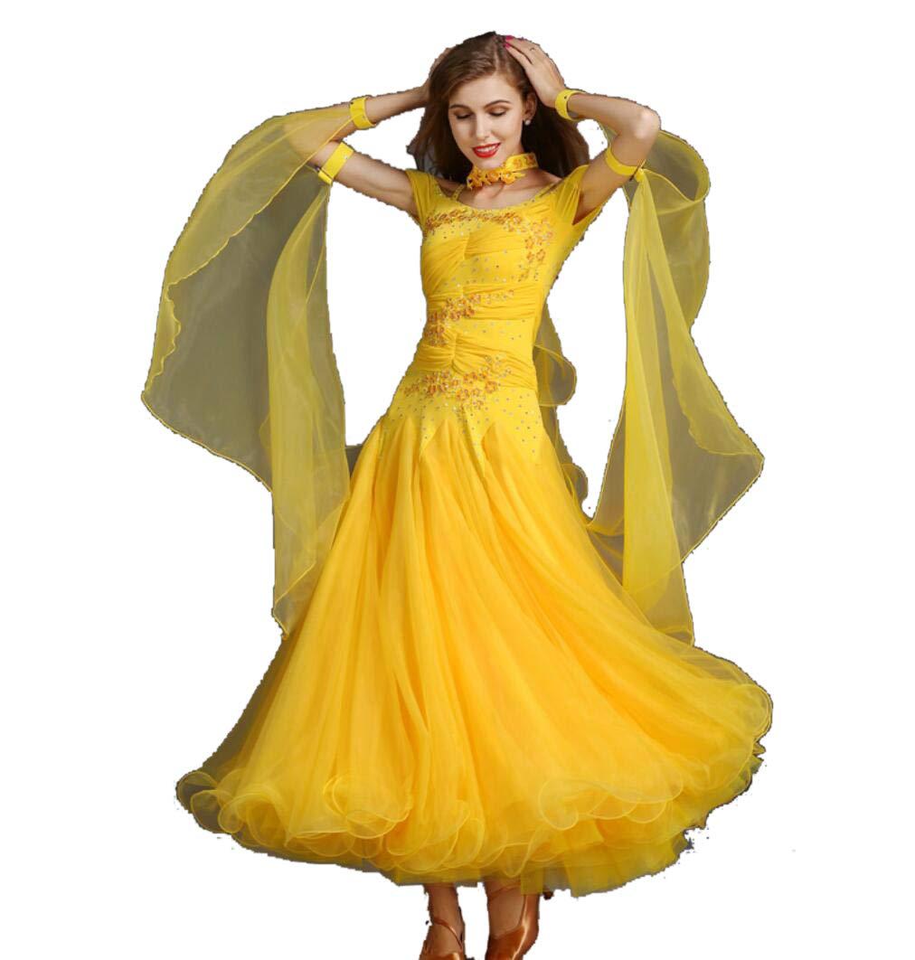 E XXL ZYLL Norme Nationale Danse De Salon pour Femmes Compétition VêteHommests De Danse Moderne Valse Tango Danse Costume Perforhommece Grand Swing