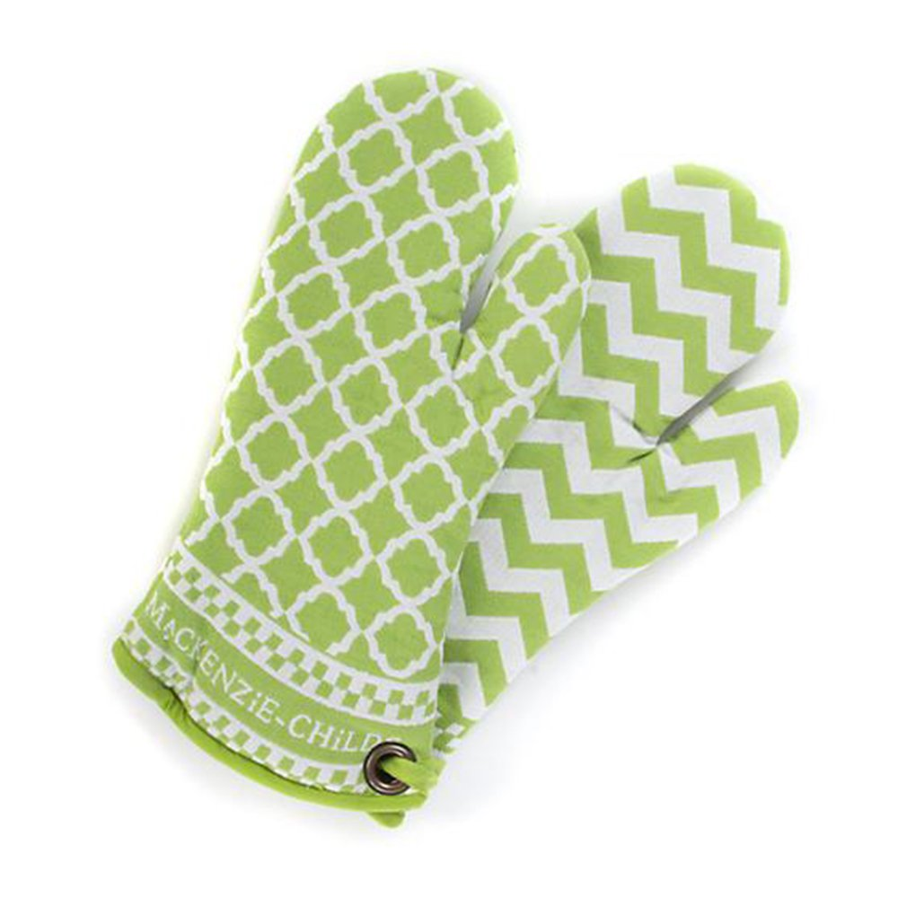 MacKenzie-Childs Cotton Kitchen Pot Holders – Key Lime Oven Mitts– Green and White Design Pan Gloves – Set of 2-7'' Wide, 14.5'' Long