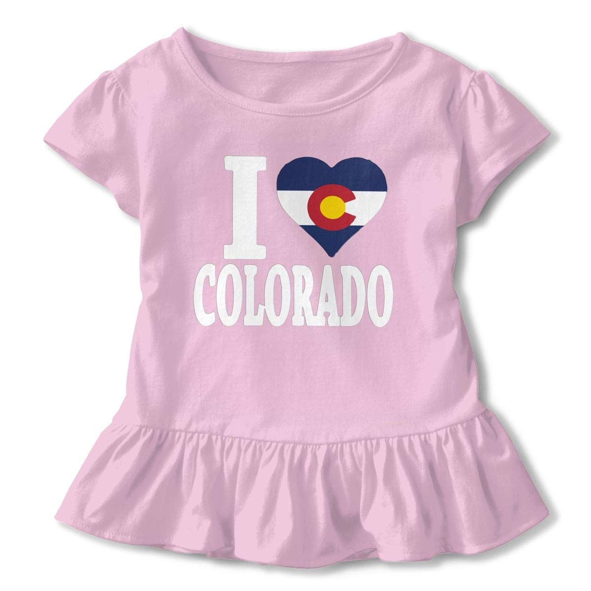 I Love Colorado Flag Heart Toddler Baby Girls Short Sleeve Ruffle T-Shirt