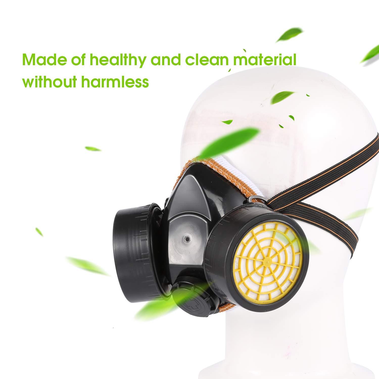 Masque à gaz Noir Masque de Protection respiratoire Anti-poussière Masque de Protection respiratoire avec Masque de Protection Contre la poussière de Survie avec 2 filtres de Protection FairytaleMM