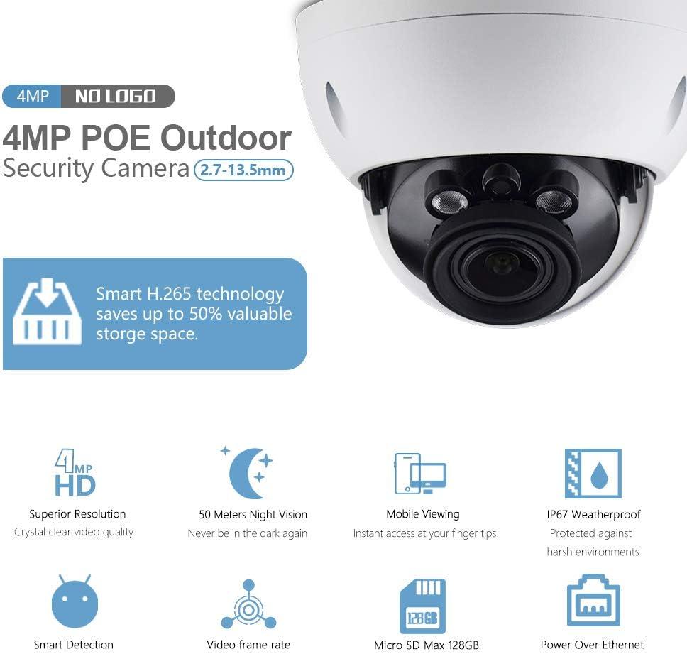 4MP Dome IPC-HDBW4433R-ZS IP PoE Camera,IR 165foot,2.7mm 13.5mm Motorized Varifocal Lens Optical Zoom,H.265 ONVIF,SD Slot,Outdoor Security Network Surveillance CCTV,IK10,IP67 Weatherproof