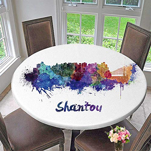 Chateau Easy-Care Cloth Tablecloth Shantou Skyline in Splatters with clipp Path for Home, Party, Wedding 43.5