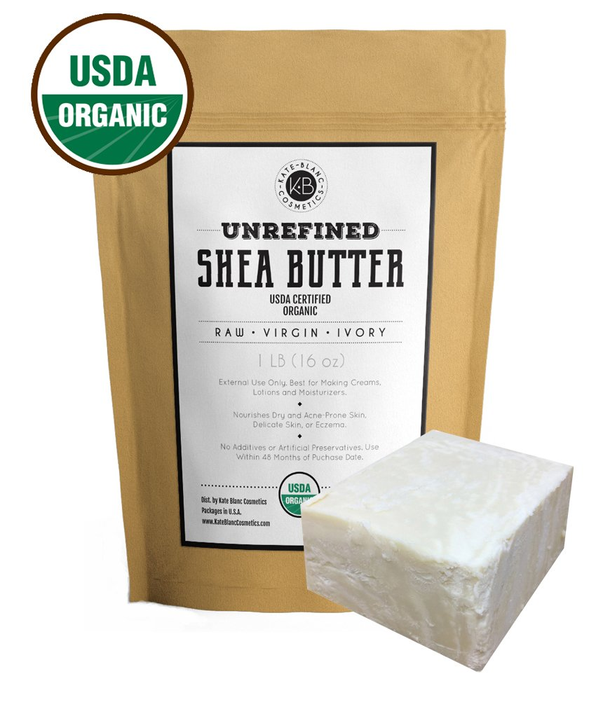 Raw Shea Butter for Face, Hair and Dry Skin (1 LB) by Kate Blanc. USDA Certified Organic, Unrefined, Fair Trade. Great for Stretch Marks, Beard, Soap Making, Body Butter, Lip Balm, Lotion, Conditioner by Kate Blanc Cosmetics