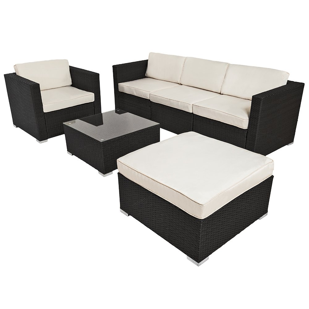 TecTake Hochwertige Luxus Lounge Alumium Poly-Rattan Sitzgruppe Sofa ...
