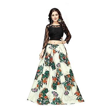 d012e573c6 Clickedia Women's Bangalori Silk Floral Digital Print Lehenga Choli ...