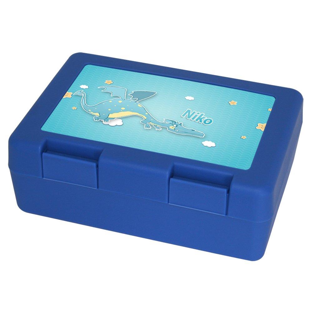 Brotdose mit Namen Niko und schönem Drachen-Motiv für Jungen   Brotbox blau - Vesperdose - Vesperbox - Brotzeitdose mit Vornamen Eurofoto